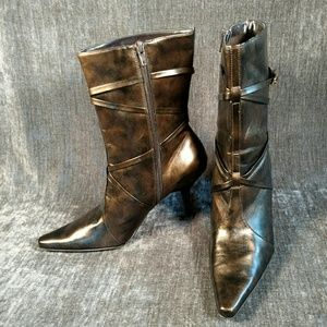 Madeline Distressed Bronze Heeled Boots